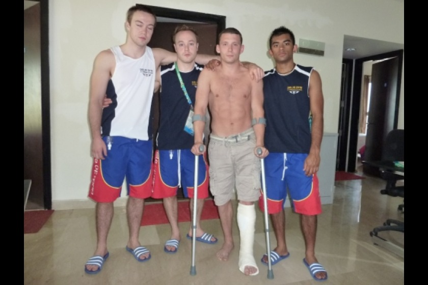 Joe Smith, pictured with his team mates, will arrive back on Island this evening