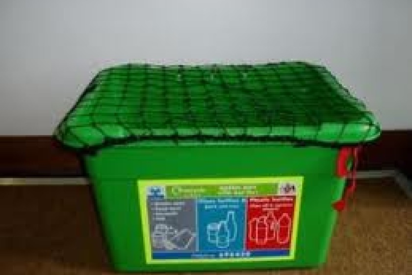 One of the boxes used in the Island's kerbside recycling scheme