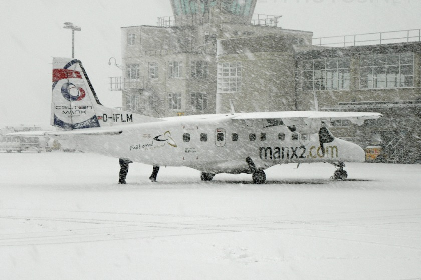 Manx2 plane during the snow (photo by D Kelly from jetphotos.net)