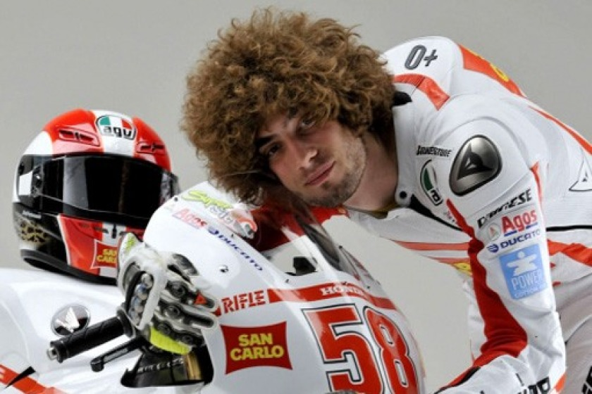 Isle of Man-based Cal Crutchlow has raced alongside Marco Simoncelli (pictured) in his debut season in Moto GP