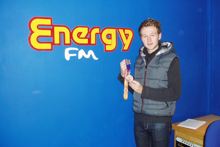 Mark Christian brought his medal in to Energy FM