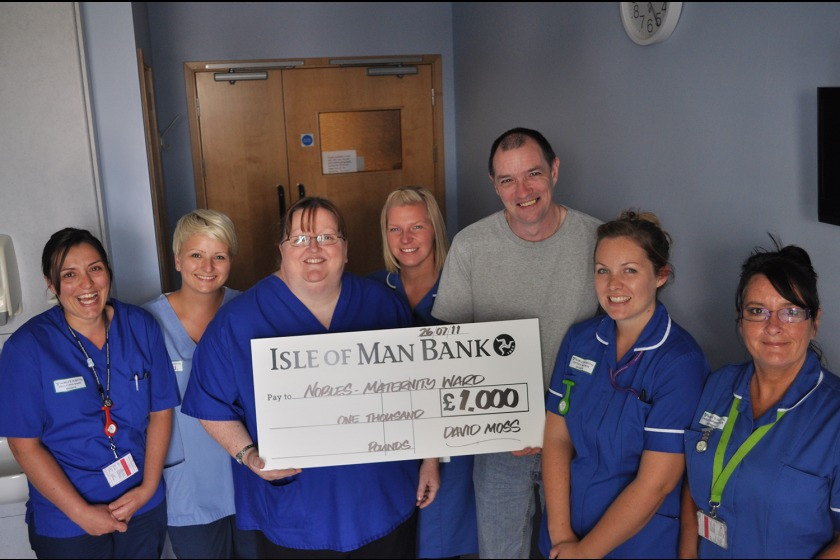 Left to right: Midwife Kelly-Ann Shaw, Midwifery Assistant Maja Ignasak, Inpatient Service Manager Jane Gray, Midwife Joanne Corcoran, Fundraiser David Moss and Midwives Esther Watson and Carol Fairbrother