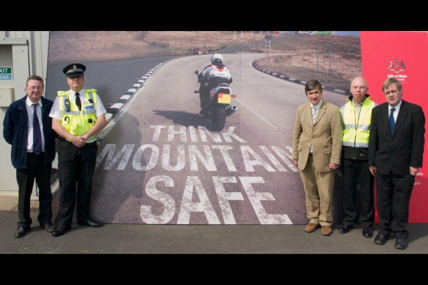 Left to right: Chief Vehicle examiner Mark Pattison, Inspector Mark Britton from the Roads Policing Unit, Infrastructure Minister Phil Gawne MHK, DoI Ops Superintendant Andrew Cunningham and Road Safety Manager Gordon Edwards