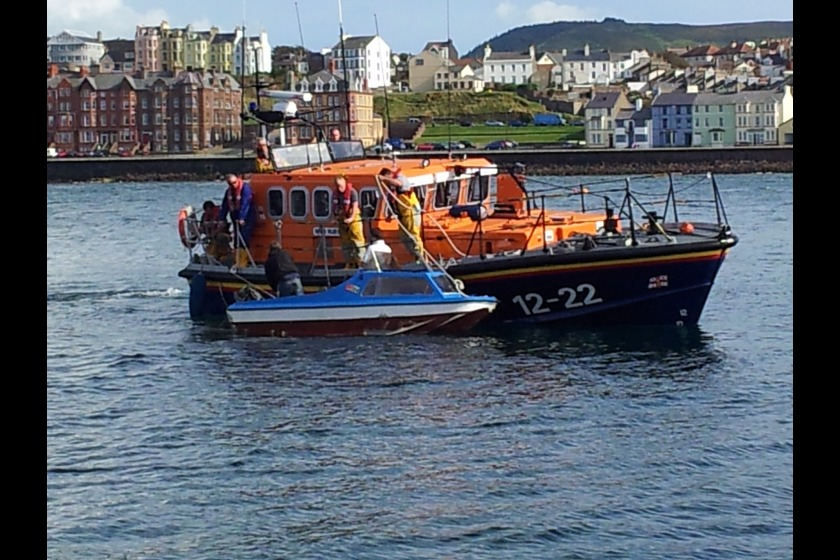 Peel lifeboat assisting a small boat on Thursday