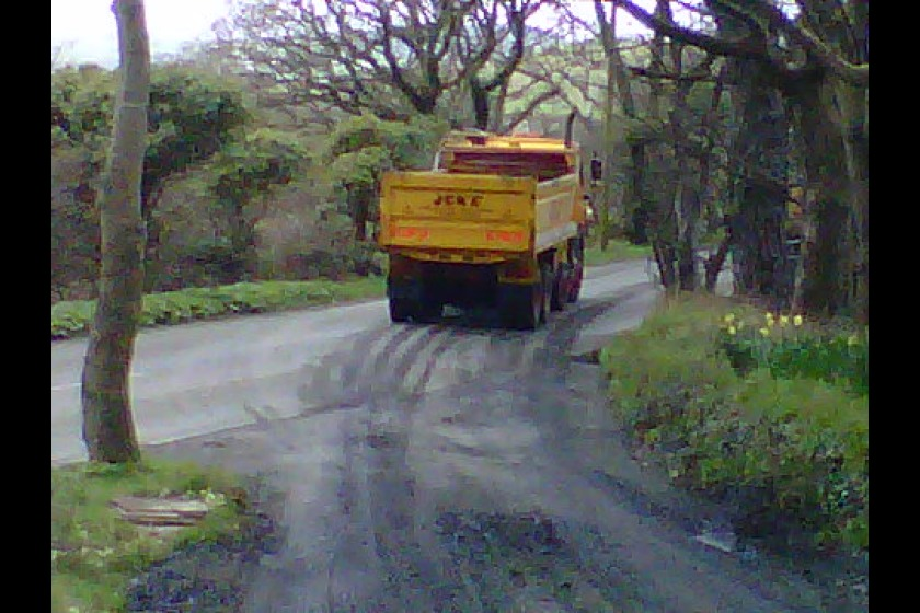 Hazardous waste spilled on the roads on the way to Poortown Quarry - Picture courtesy of Matthew Wadsworth.