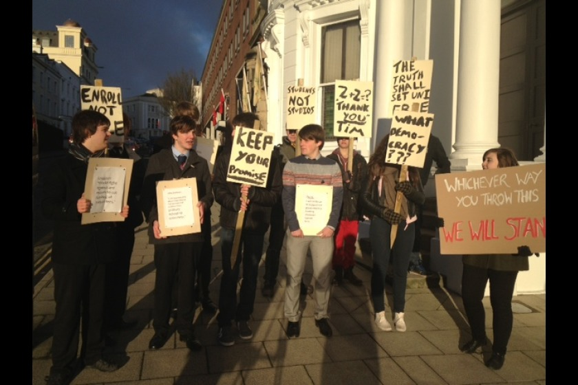 Students protested outside Tynwald yesterday
