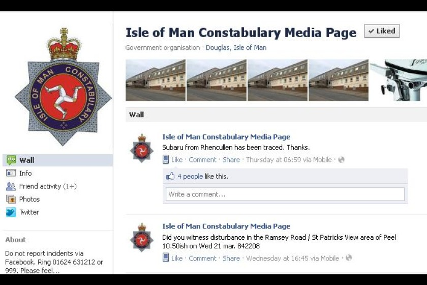 The Isle of Man Constabulary Media Page on Facebook