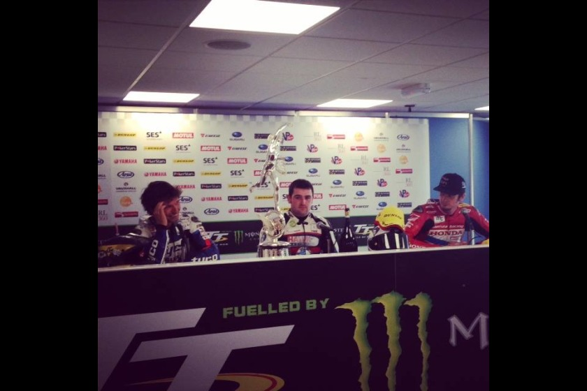 Guy Martin and Conor Cummins with winner Michael Dunlop