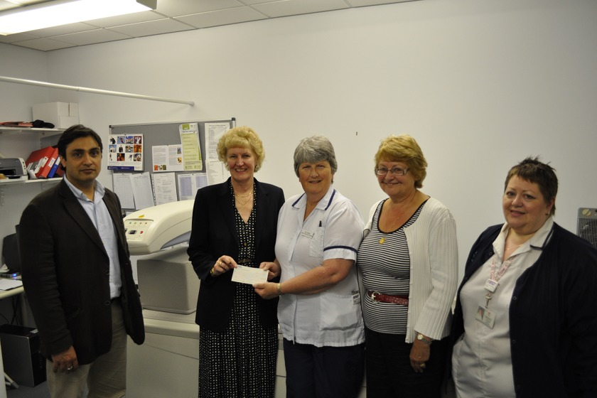 From left to right: Consultant Rheumatologist Dr Rohit Peshin, Chair of the Manx Osteoporosis Society Thelma Lomax, Deputy Radiology Manager Jill Creed, Sectretary of the Manx Osteoporosis Society Caroline Rawson and lead Dexa Radiographer Val Cowgill