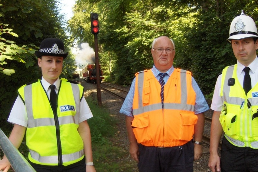 PC Christie Morgan, Transport Chief Engineer Peter Maddocks and PC Rob Lewis are rackling vandalism on the steam railway line