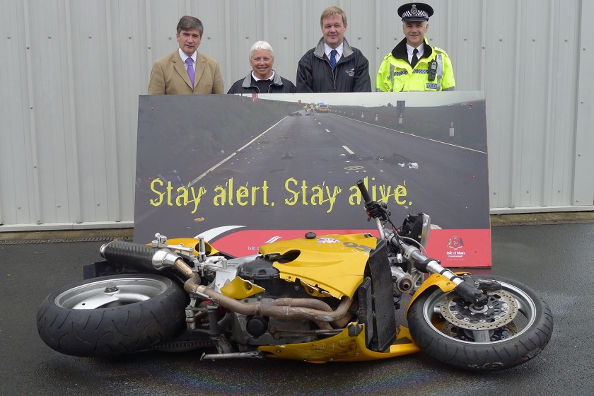 Infrastructure Minister Phil Gawne, Viv Moore from the Road Safety Team, Road Safety Manager Gordon Edwards and Inspector Terry Stephen from the Roads Policing Unit