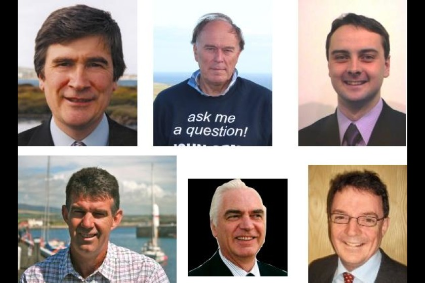 The candidates for Rushen; Phil Gawne (top left), John Orme (top centre), Juan Watterson (top right), Laurence Skelly (bottom left), David Jones (bottom centre), Quintin Gill (bottom right)