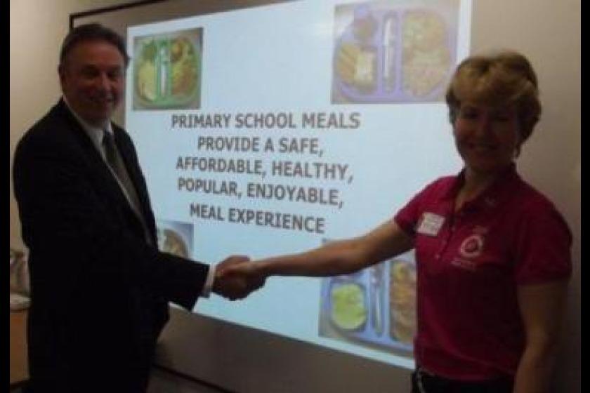 Liz Metzger meeting Schools' Catering Manager Chris Wilson