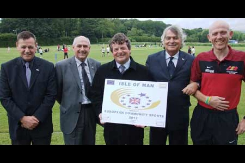 From left to right: Deputy European President of Aces john Swanson, Director of Leisure at DCCL Mike Ball, DCCL Minister David Cretney MHK, ACES President Gian Francesco Lupattelli and Sport Development Officer Gianni Epifani