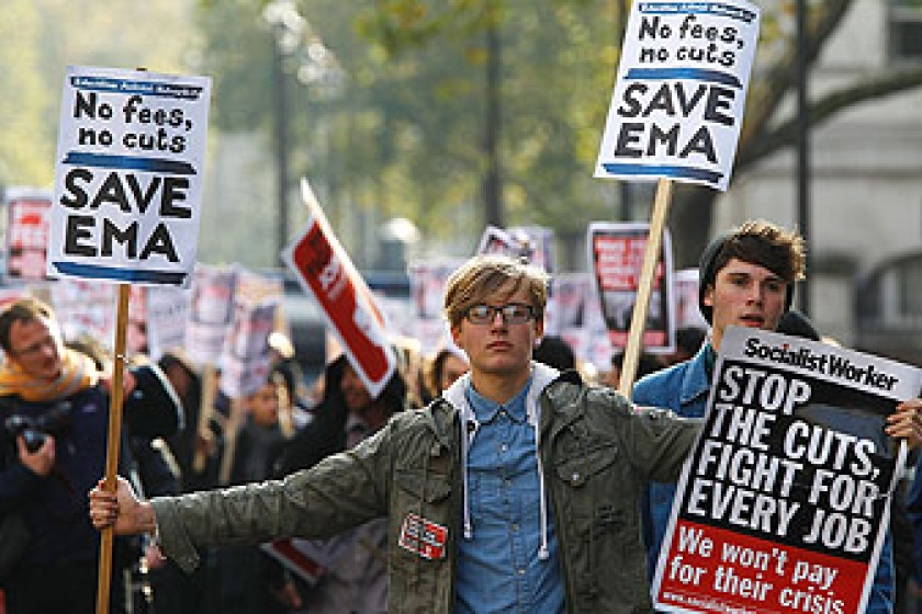 UK students protested over the increase in fees (photo from Sky News)