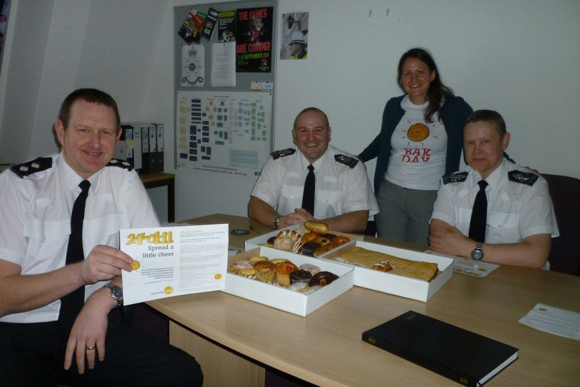 Officers at Lord Street Police Station receive their treats