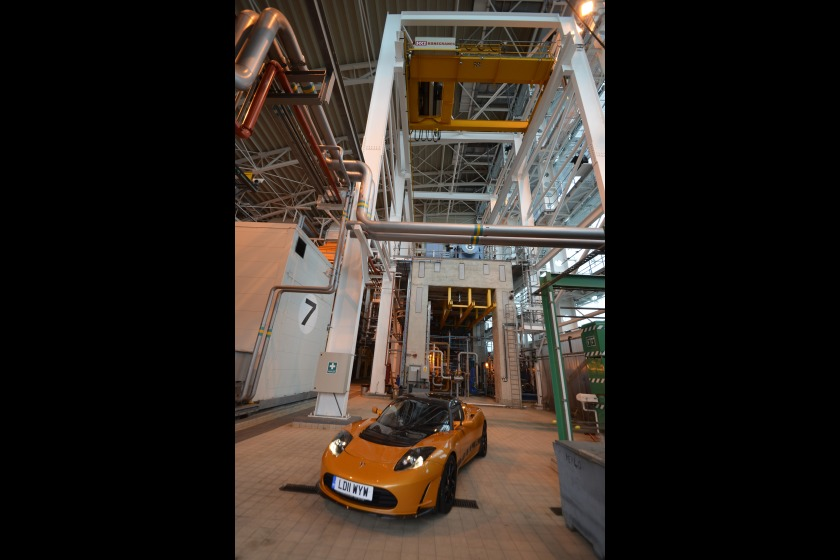 The Tesla Roadster Sport pictured at Pulrose Power Station as MEA staff take a test drive