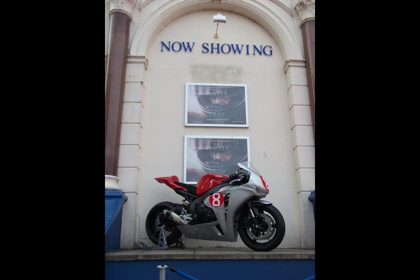 One of Guy Martin's 2010 TT bikes outside the Palace Cinema last night