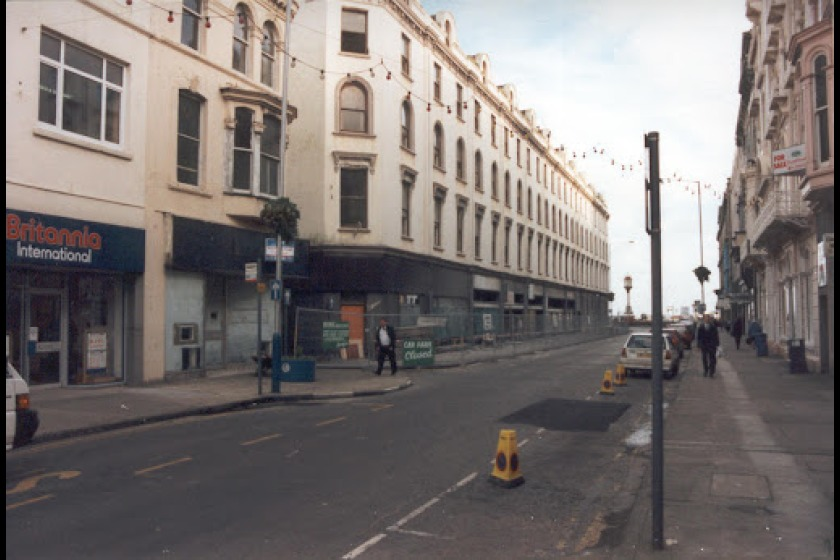 Old photograph showing the area of the proposed site of a new bus interchange in Douglas.  The RBS buildings now occupy the block on the left