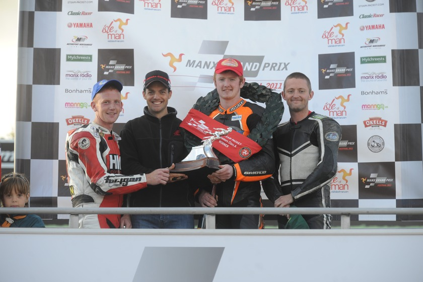 Wayne Hamilton on the podium after winning Saturday's Newcomers race