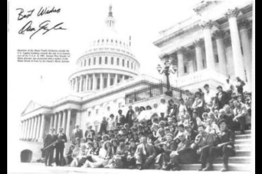 The Manx Youth Orchestra on the steps of the Capitol Building in the USA