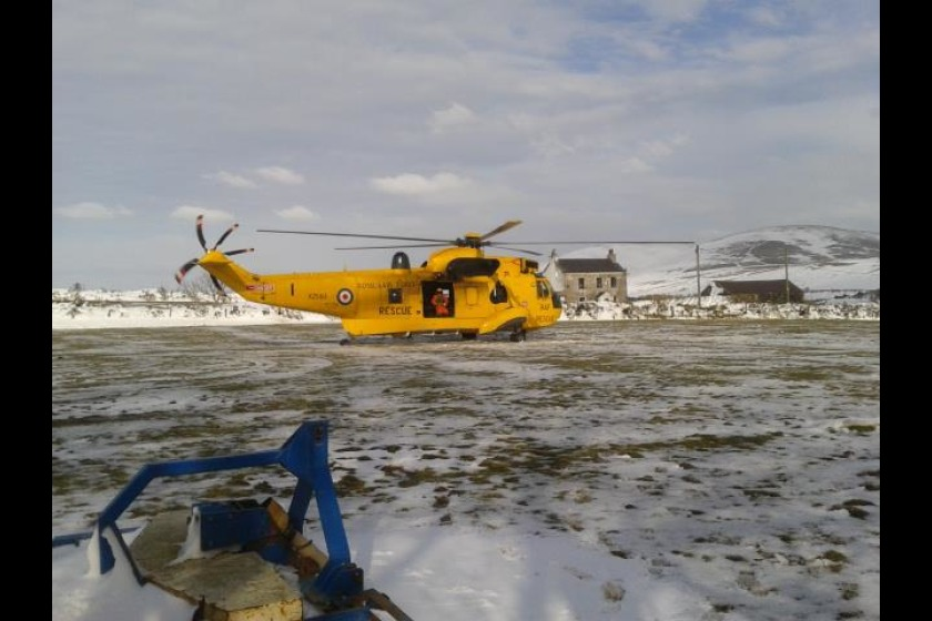 The RAF Rescue Helicopter at Staarvey (Pic Peel Coastguard)