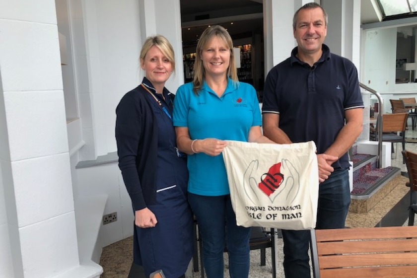 From left: Abi Roberts, Diane Taylor and Dr Dave Walker of Organ Donation IOM