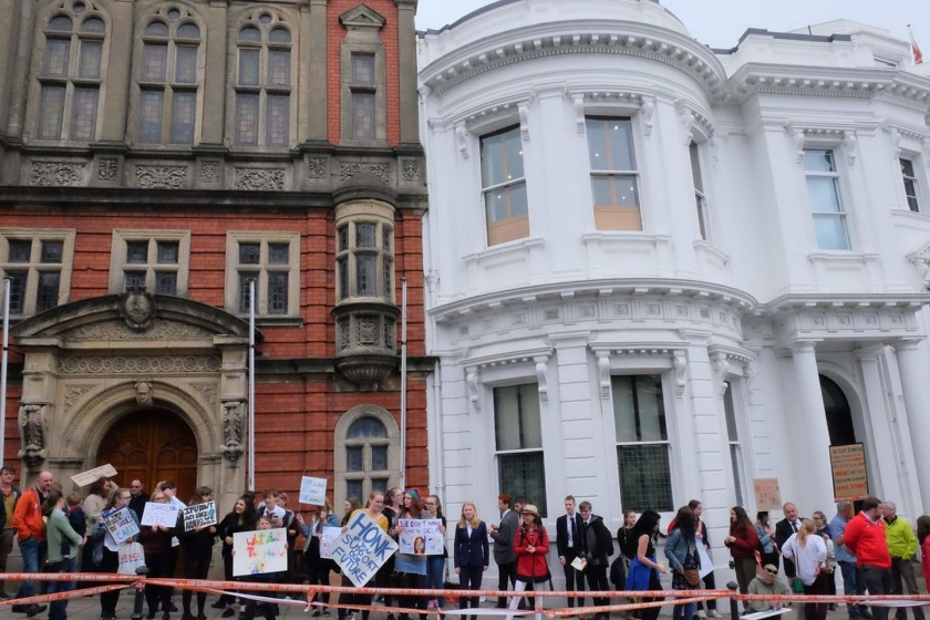 Students staging a protest outside Gov buildings earlier this year. Credit: Facebook