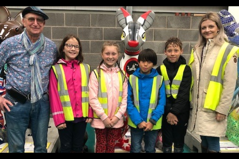 Professor Bridgewater with Y6 Laxey School children and Y3 Teacher/Sustainability Leader Rebecca Walker